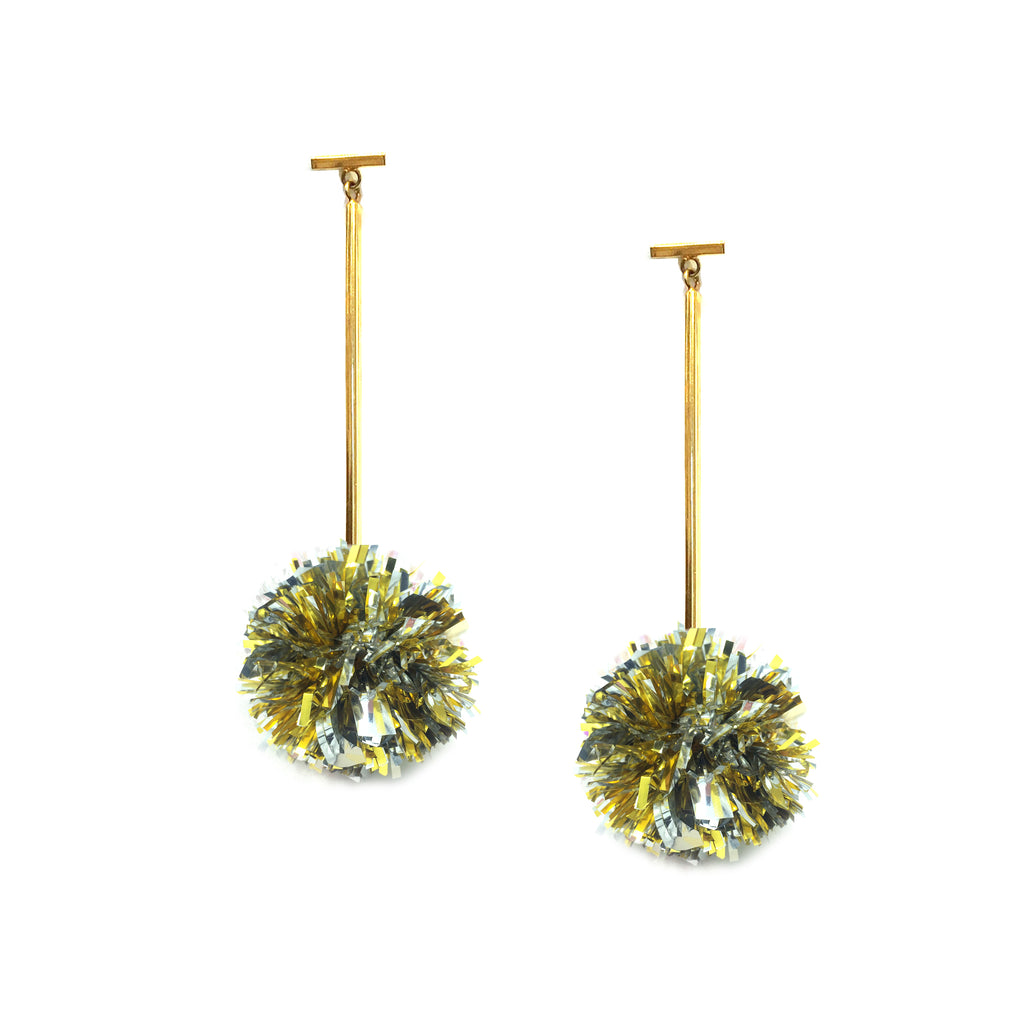 "Gold and Silver 1"" Lurex Pom Pom T Bar Earrings, Earrings, Tuleste, Tuleste"