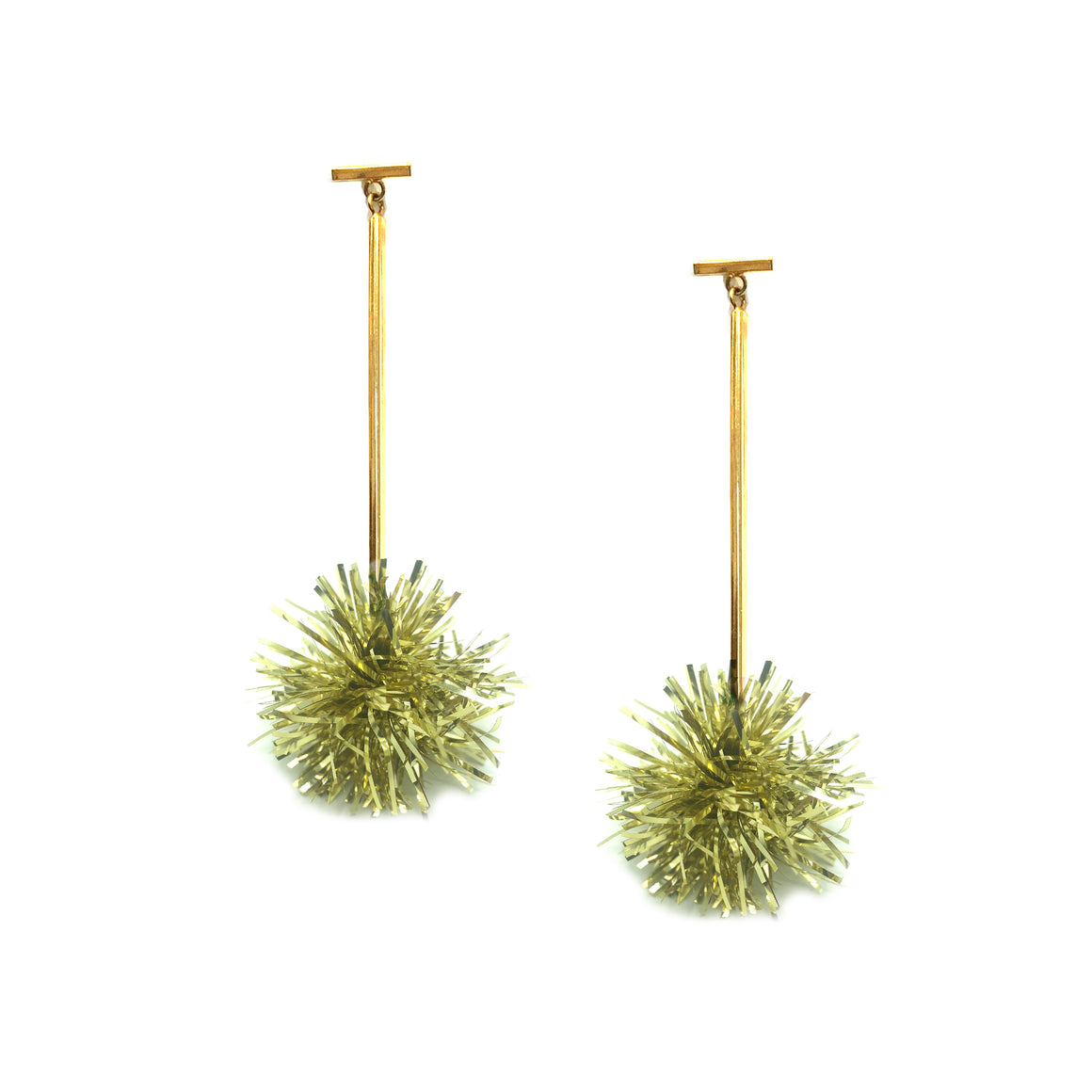 "1"" Gold Lurex Pom Pom T Bar Earrings, Earrings, Tuleste, Tuleste"