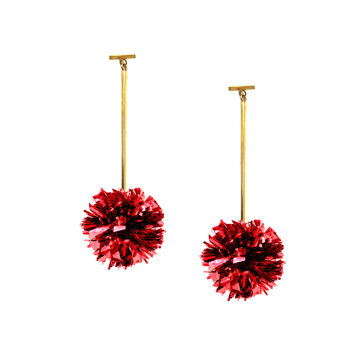 "Red 1"" Lurex Pom Pom T Bar Earrings, Earrings, Tuleste, Tuleste"