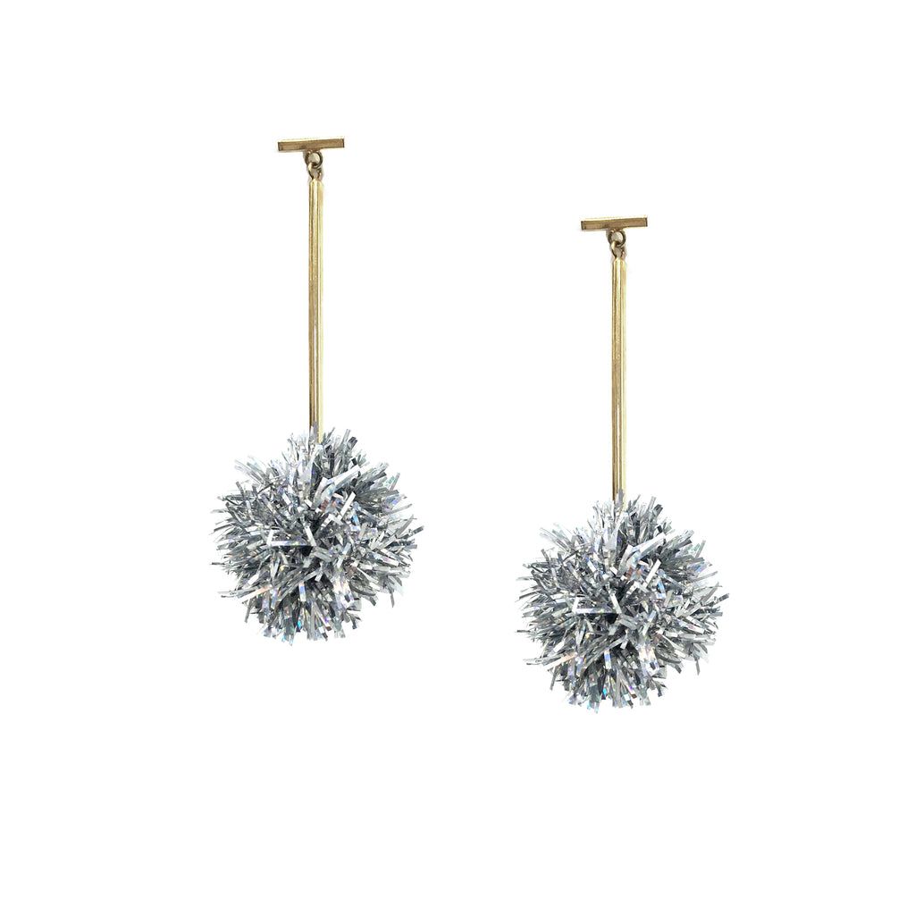 "1"" Silver Lurex Pom Pom T Bar Earrings, Earrings, Tuleste, Tuleste"