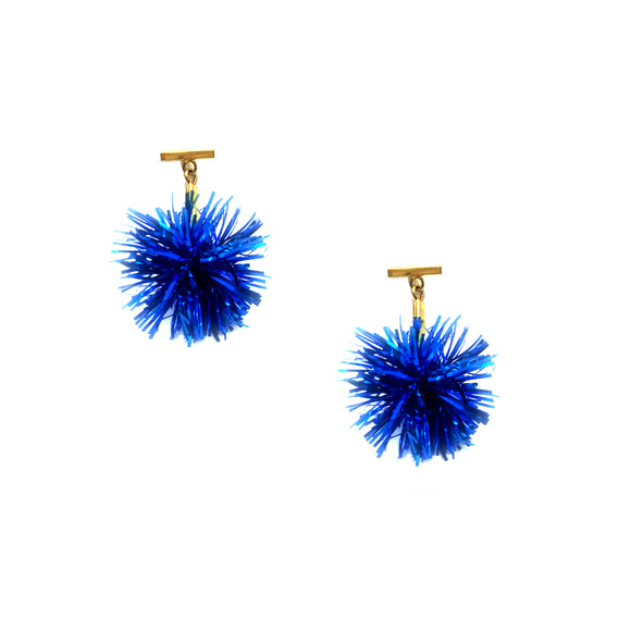"Cobalt 1"" Lurex Pom Pom T Stud Earrings, Earrings, Tuleste, Tuleste"