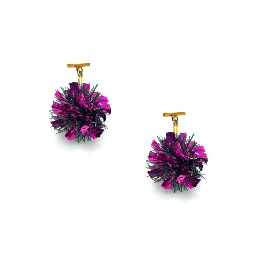Fuchsia Lurex Pom Pom T Stud Earrings, Earrings, Tuleste, Tuleste