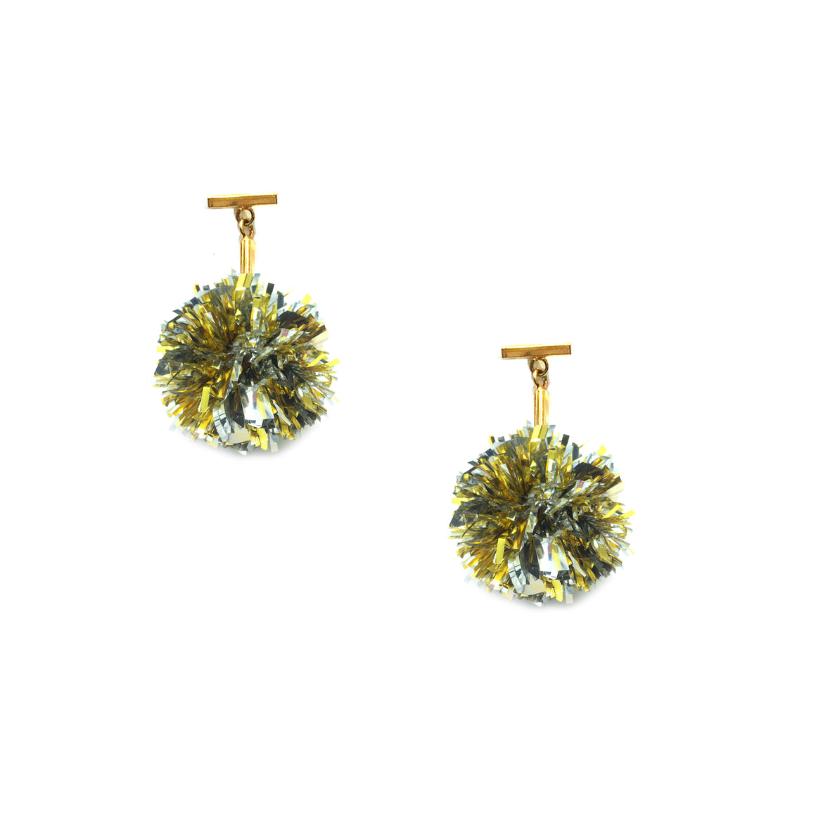 "Gold and Silver 1"" Lurex Pom Pom T Stud Earrings, Earrings, Tuleste, Tuleste"