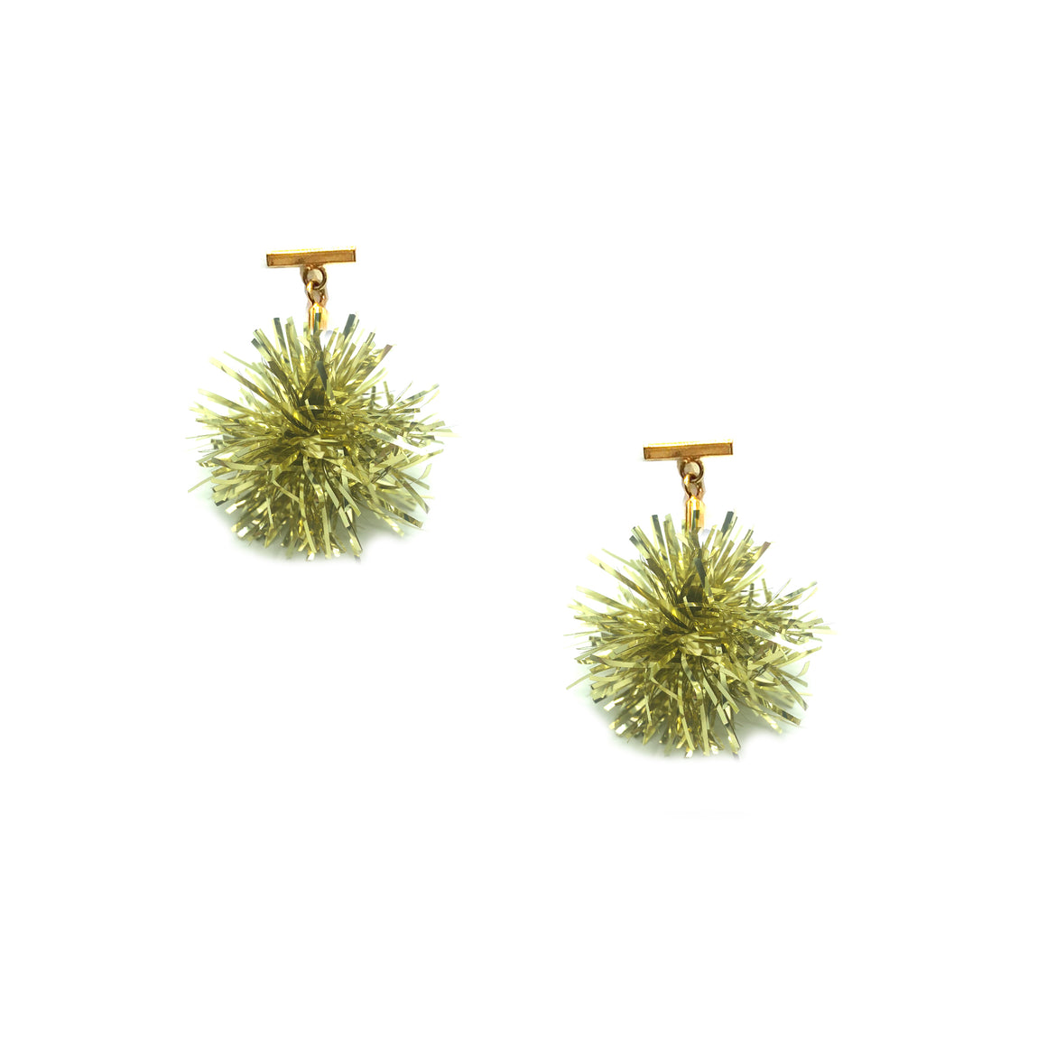 "1"" Gold Lurex Pom Pom T Stud Earrings, Earrings, Tuleste, Tuleste"