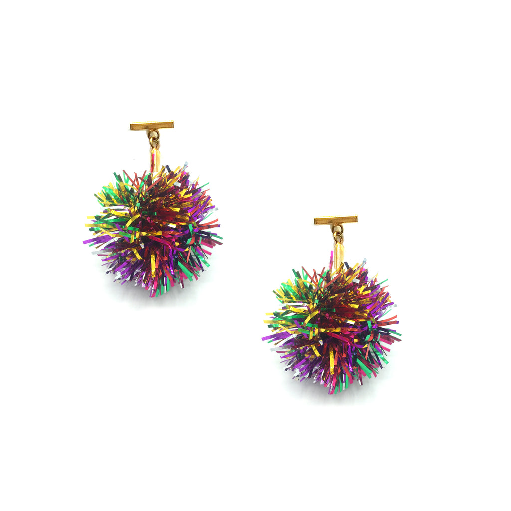"Rainbow 1"" Lurex Pom Pom T Stud Earrings, Earrings, Tuleste, Tuleste"