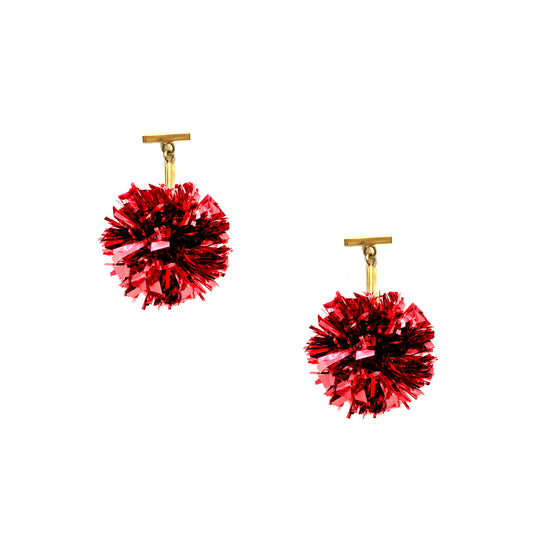 "1"" Red Lurex Pom Pom T Stud Earrings, Earrings, Tuleste, Tuleste"