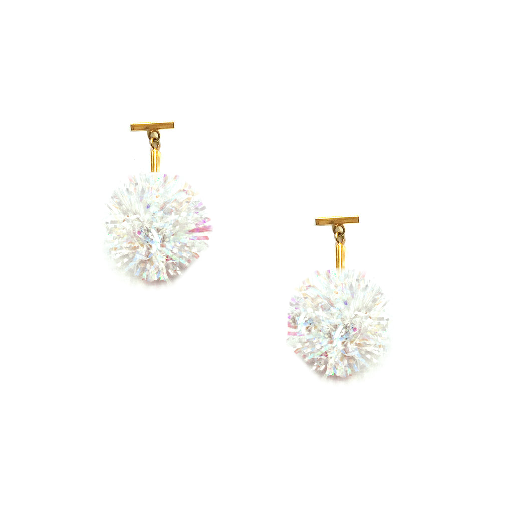 "1"" White and Iridescent Lurex Pom Pom T Stud Earrings"