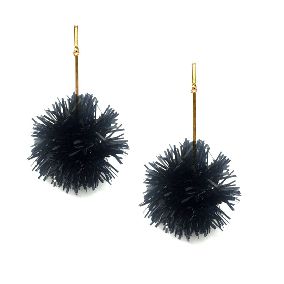 "Black 2"" Lurex Pom Pom Earrings, Earrings, Tuleste, Tuleste"