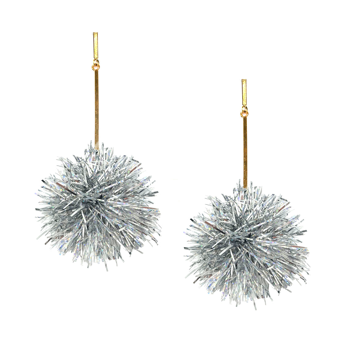 "Silver 2"" Lurex Pom Pom Earrings, Earrings, Tuleste, Tuleste"