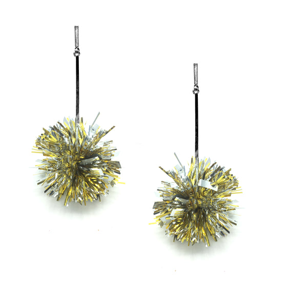 "2"" Gold and Silver Lurex Pom Pom Earrings, Earrings, Tuleste, Tuleste"