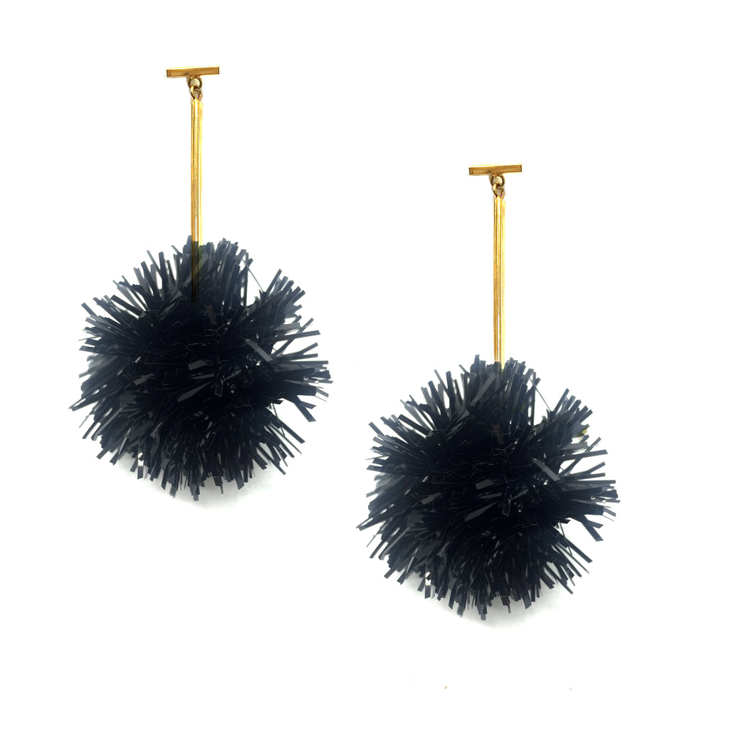 "2"" Black Lurex Pom Pom T Bar Earrings, Earrings, Tuleste, Tuleste"