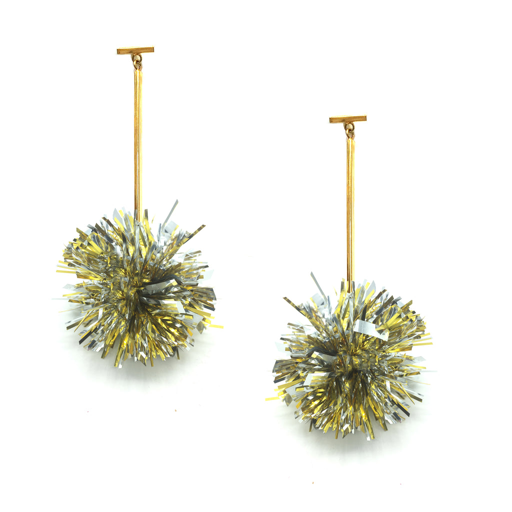 "2"" Gold and Silver Lurex Pom Pom T Bar Earrings, Earrings, Tuleste, Tuleste"
