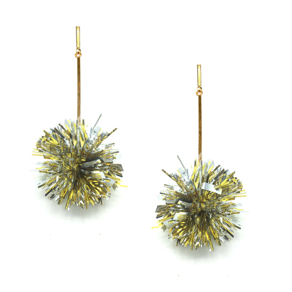 "Gold  and Silver 2"" Lurex Pom Pom Earrings, Earrings, Tuleste, Tuleste"