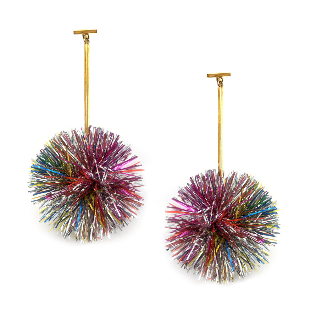 "2"" Rainbow Lurex Pom Pom T Bar Earrings"