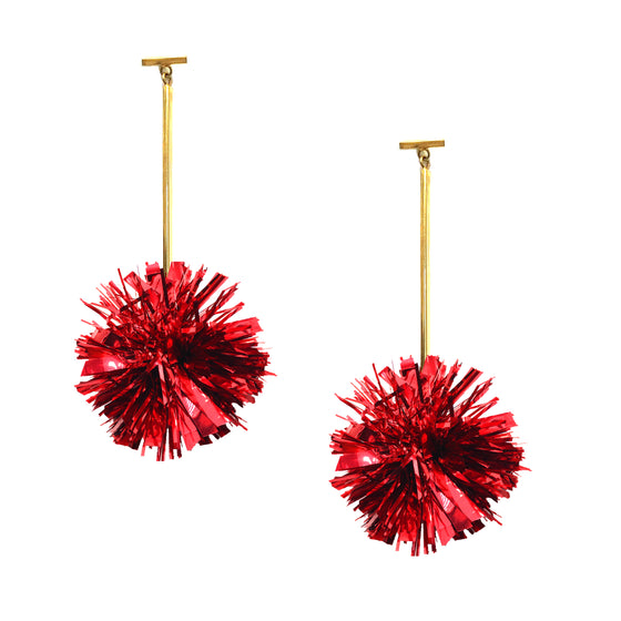 "2"" Red Lurex Pom Pom T Bar Earrings, Earrings, Tuleste, Tuleste"
