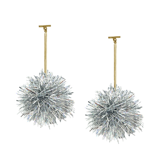 "2"" Silver Lurex Pom Pom T Bar Earrings, Earrings, Tuleste, Tuleste"