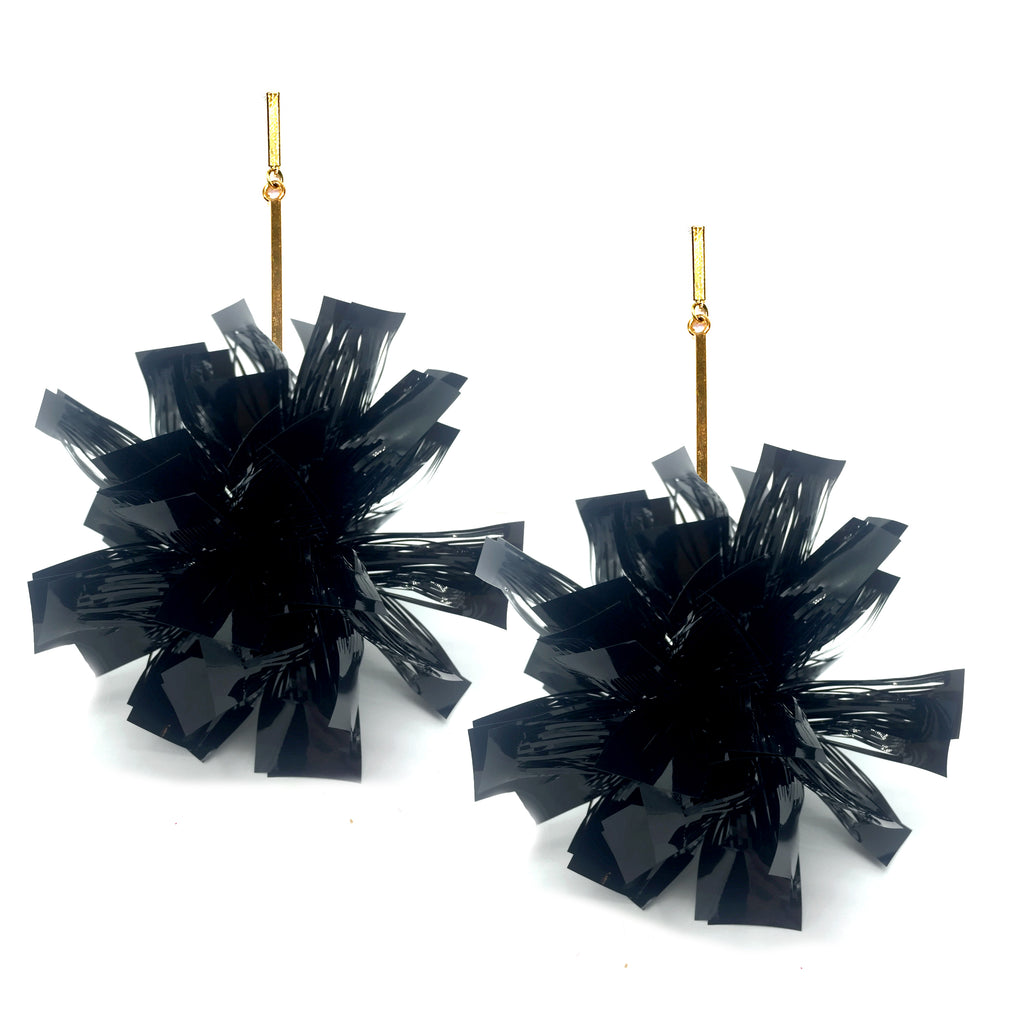 "Black 3"" Lurex Pom Pom Earrings, Earrings, Tuleste, Tuleste"