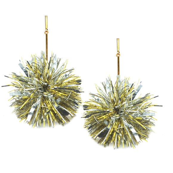 "Gold and Silver 3"" Lurex Pom Pom Earrings, Earrings, Tuleste, Tuleste"