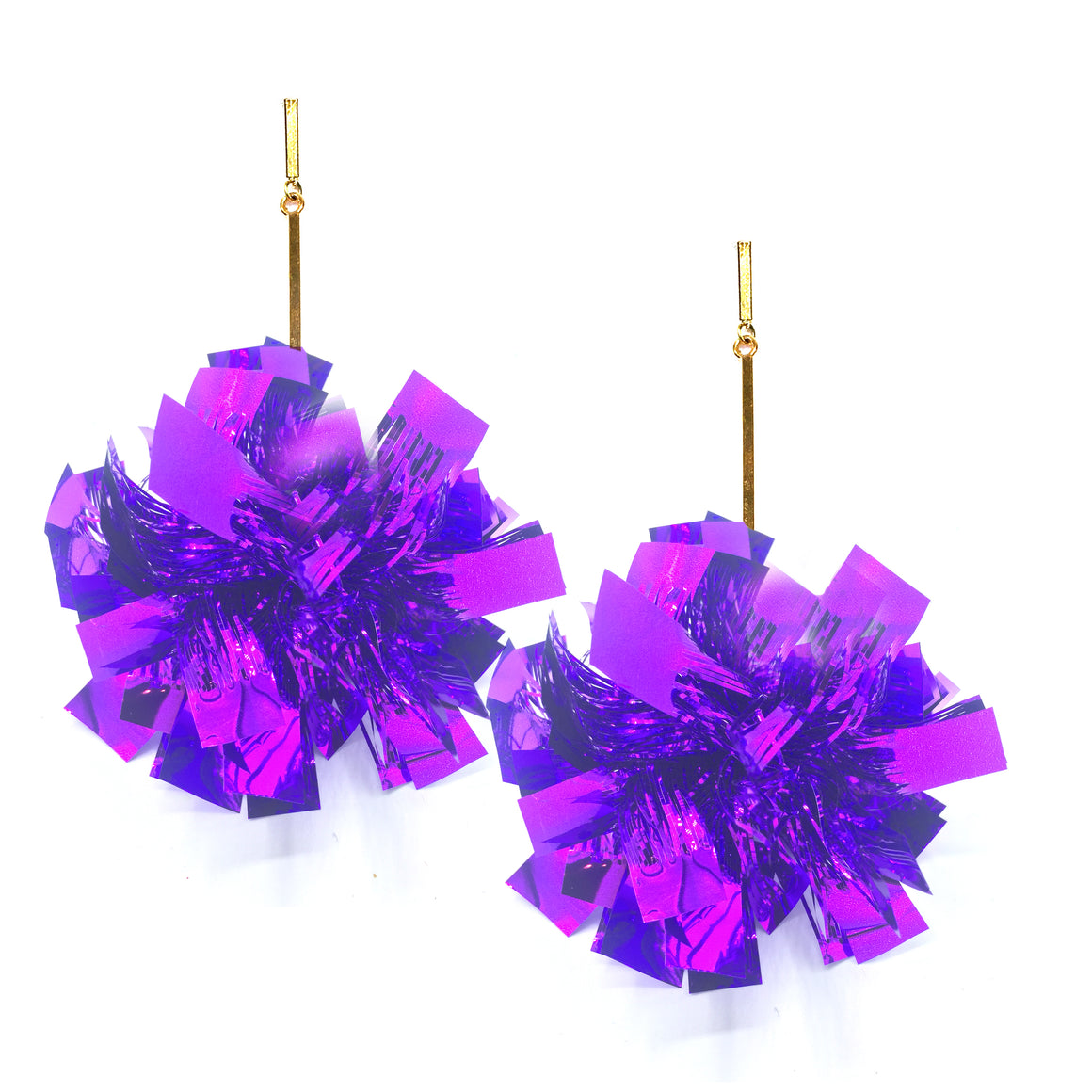 "3"" Purple Lurex Pom Pom Earrings, Earrings, Tuleste, Tuleste"