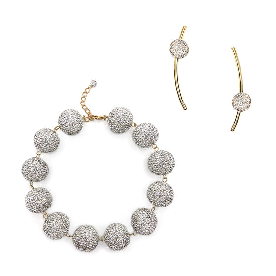Crystal Ball Choker and Crystal Curve Bar Earring Set, Bundle, Tuleste, Tuleste