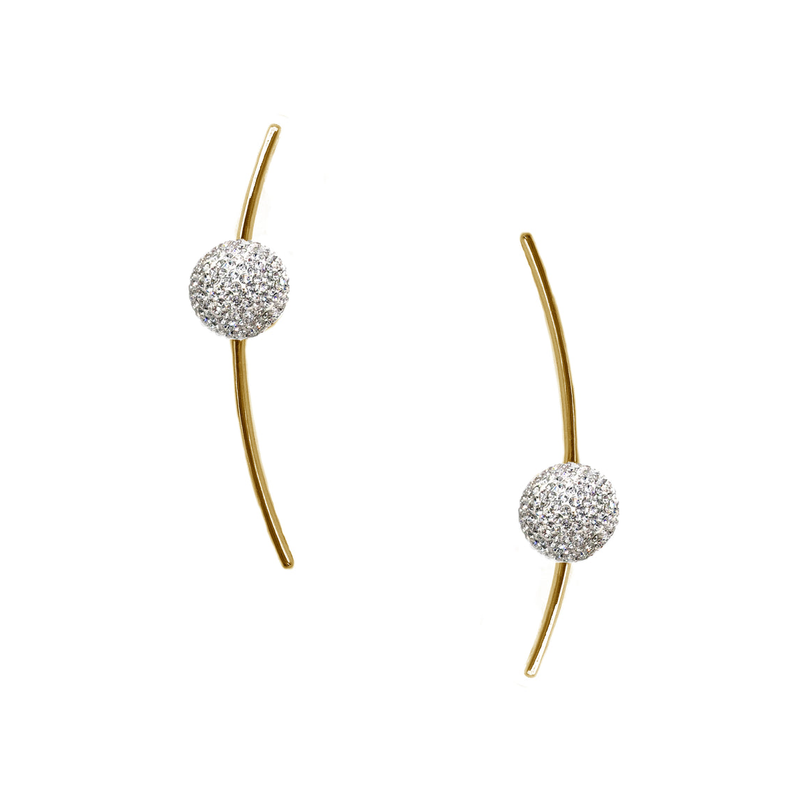 Crystal Ball Curve Bar Earrings, Earrings, Tuleste, Tuleste