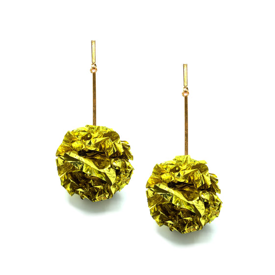 "Gold 2"" Foil Pom Pom Earrings, Earrings, Tuleste, Tuleste"