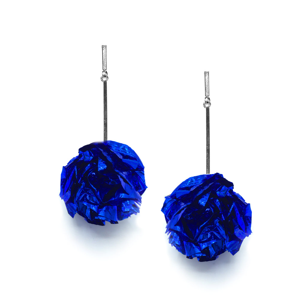 "2"" Blue Foil Pom Pom Earrings, Earrings, Tuleste, Tuleste"