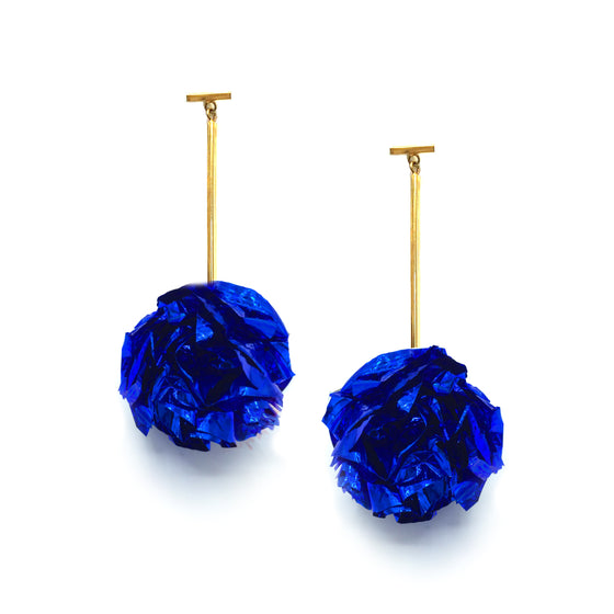 "2"" Blue Foil Pom Pom T Bar Earrings, Earrings, Tuleste, Tuleste"