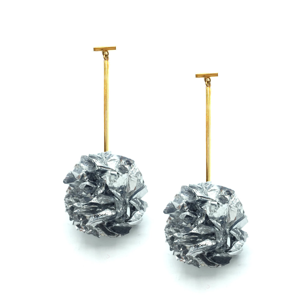 "Silver 2"" Foil Pom Pom T Bar Earrings"