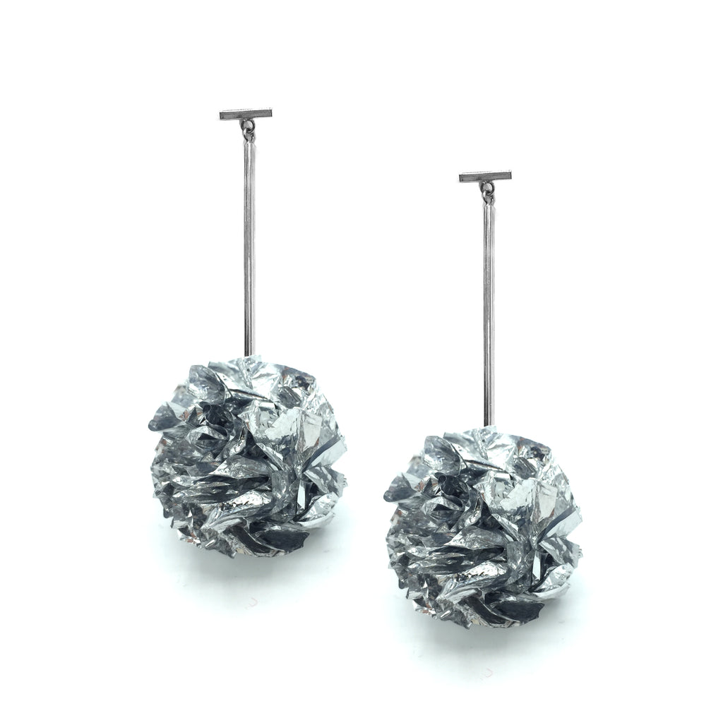 "Silver 2"" Foil Pom Pom T Bar Earrings, Earrings, Tuleste, Tuleste"