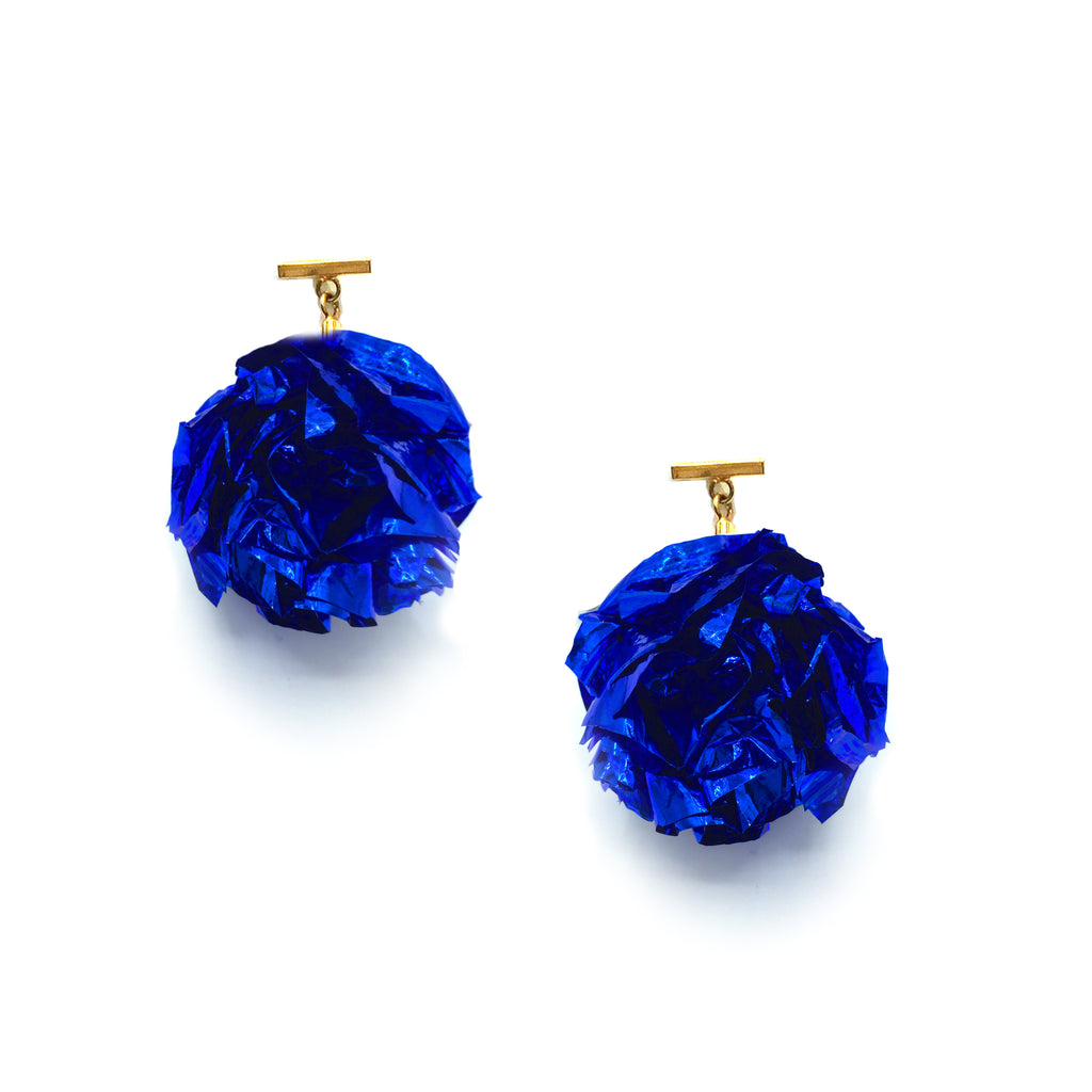 "2"" Blue Foil Pom Pom T Stud Earrings, Earrings, Tuleste, Tuleste"