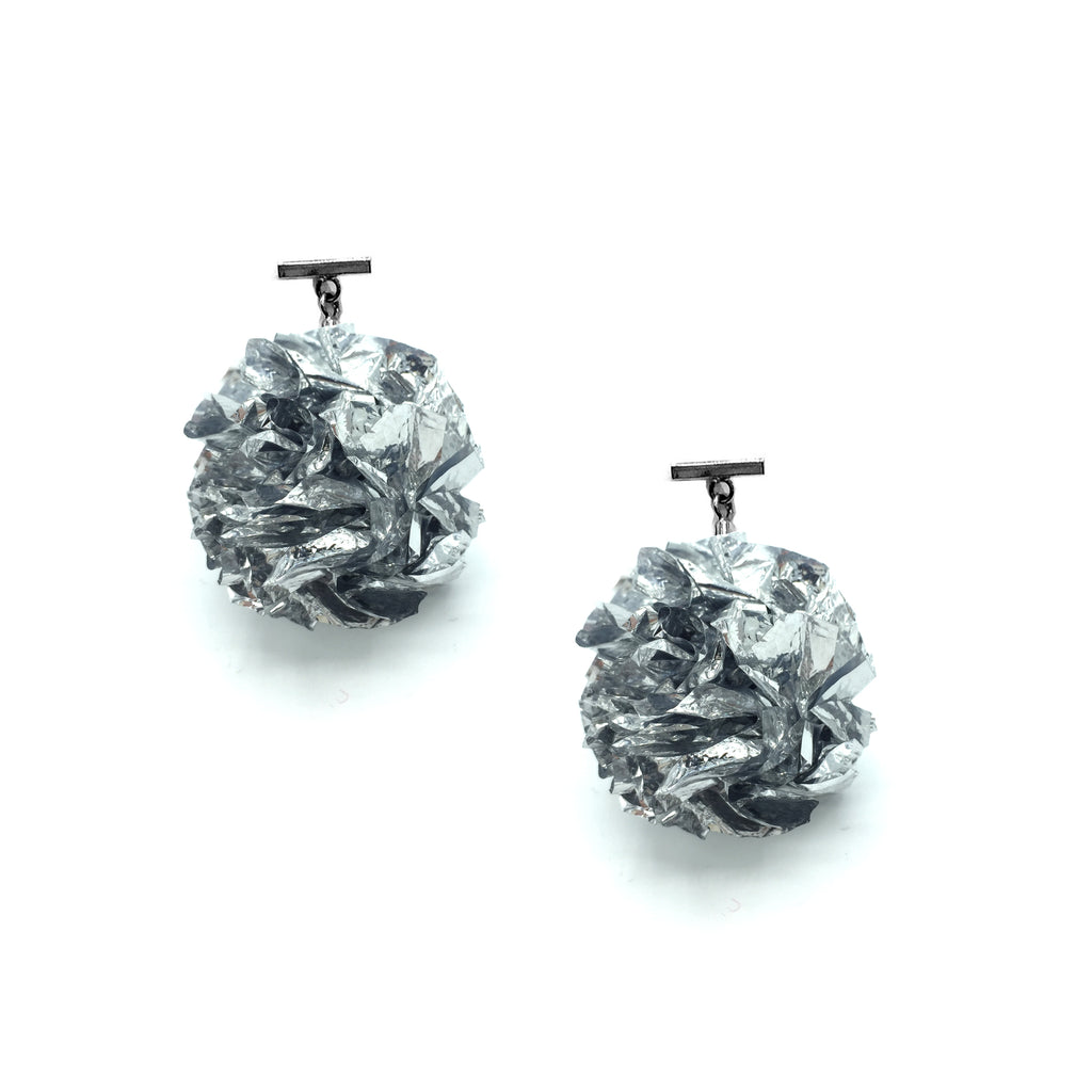 "Silver 2"" Foil Pom Pom T Stud Earrings, Earrings, Tuleste, Tuleste"