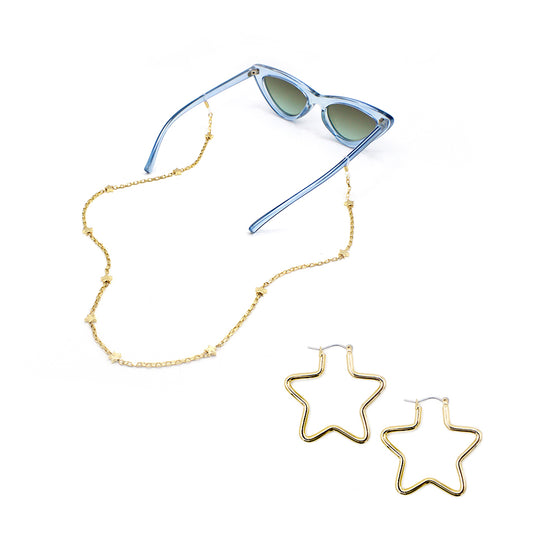 Small Star Earrings and Delicate Star Eyewear Chain Bundle