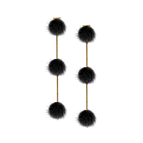 Black Mini Mink Triple Pom Pom Earrings, Earrings, Tuleste, Tuleste