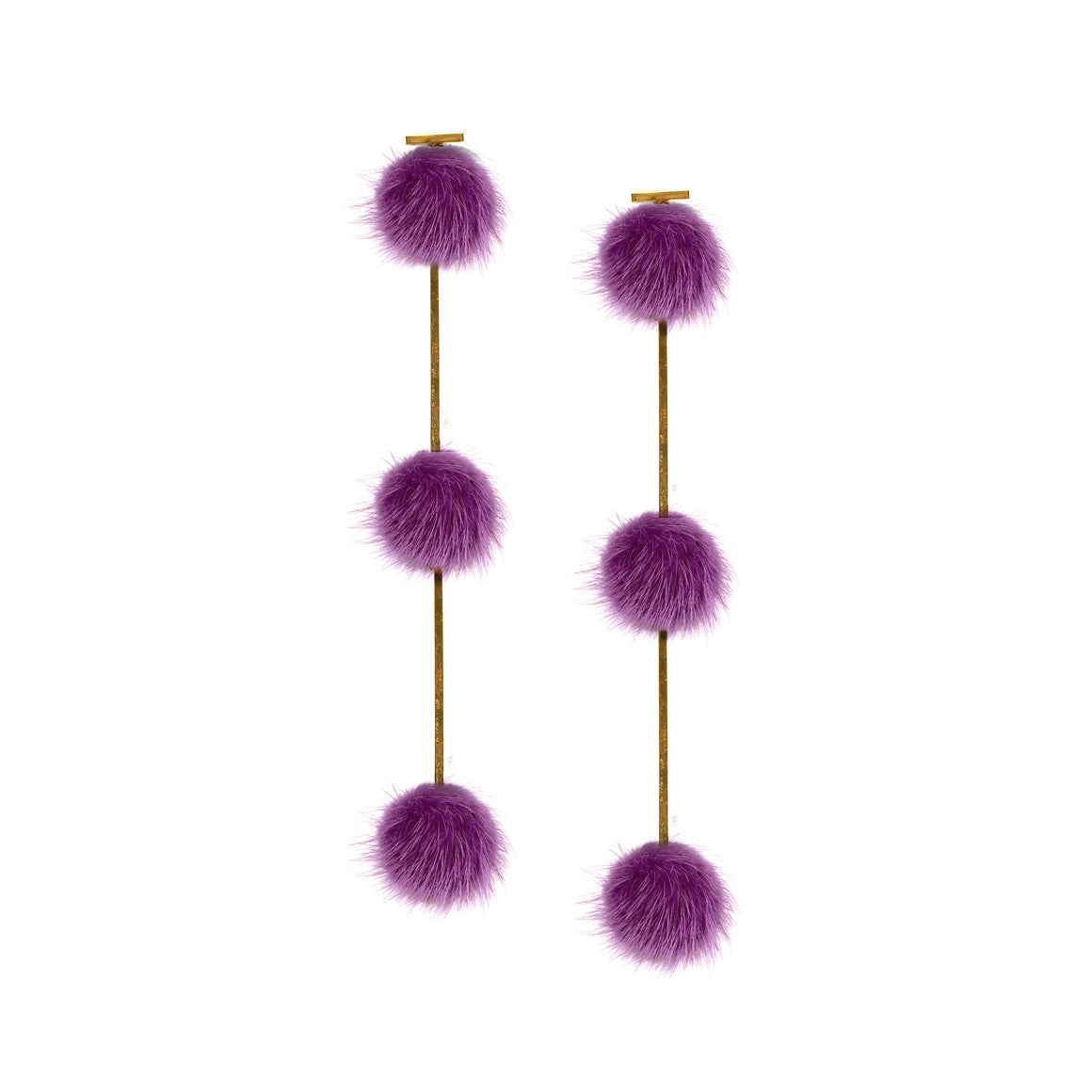Purple Mini Mink Pom Pom Triple Earrings