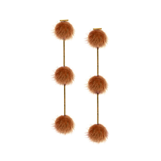 Rust Mini Mink Triple Pom Pom Earrings, , Tuleste, Tuleste
