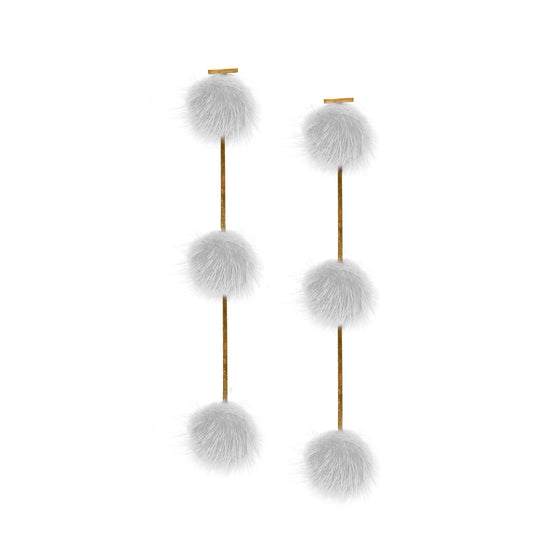 White Mini Mink Triple Pom Pom Earrings
