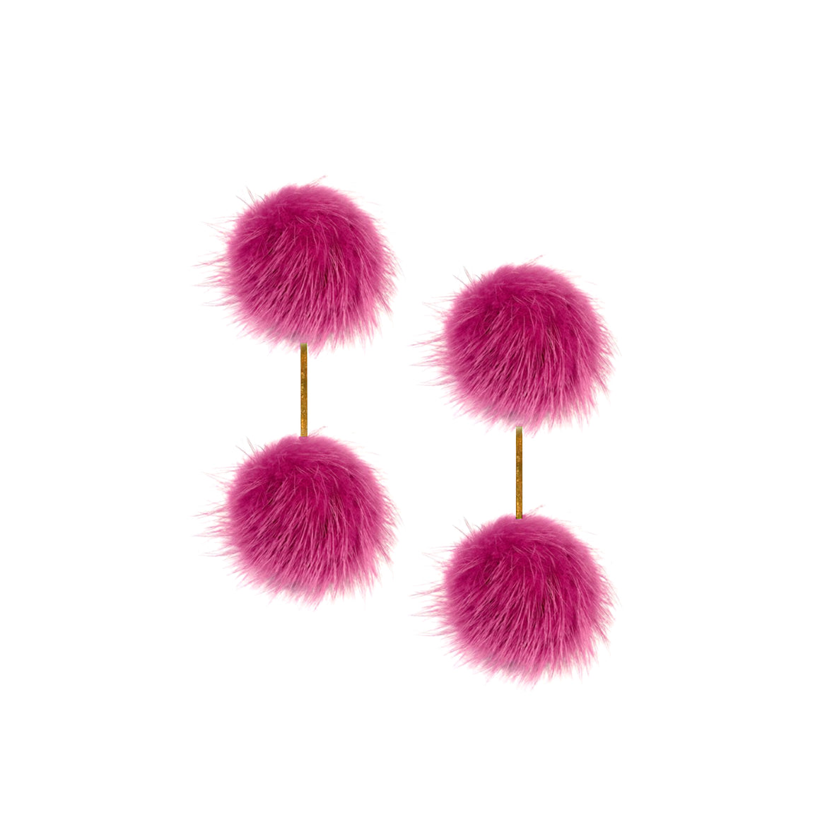Fuchsia Mink Pom Pom Double Earrings, Earrings, Tuleste, Tuleste