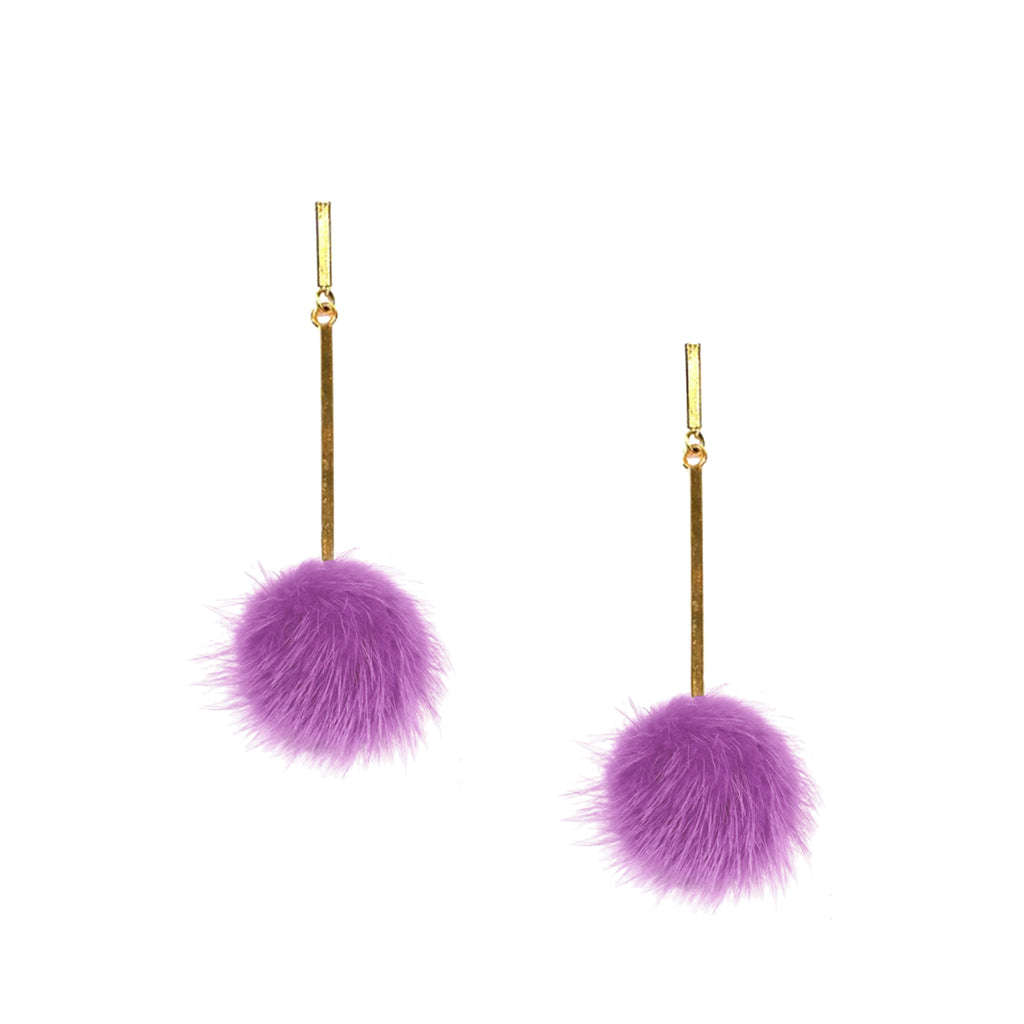 Violet Mink Pom Pom Earrings