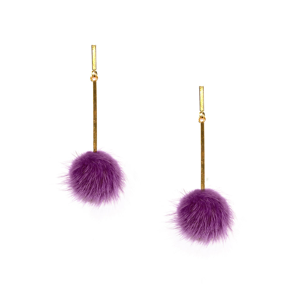 Purple Mini Mink Pom Pom Earrings, Earrings, Tuleste, Tuleste