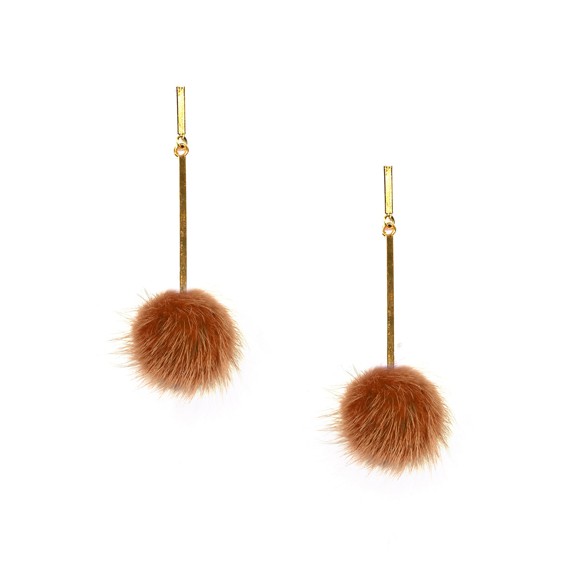 Rust Mini Mink Pom Pom Earrings, earring, Tuleste, Tuleste
