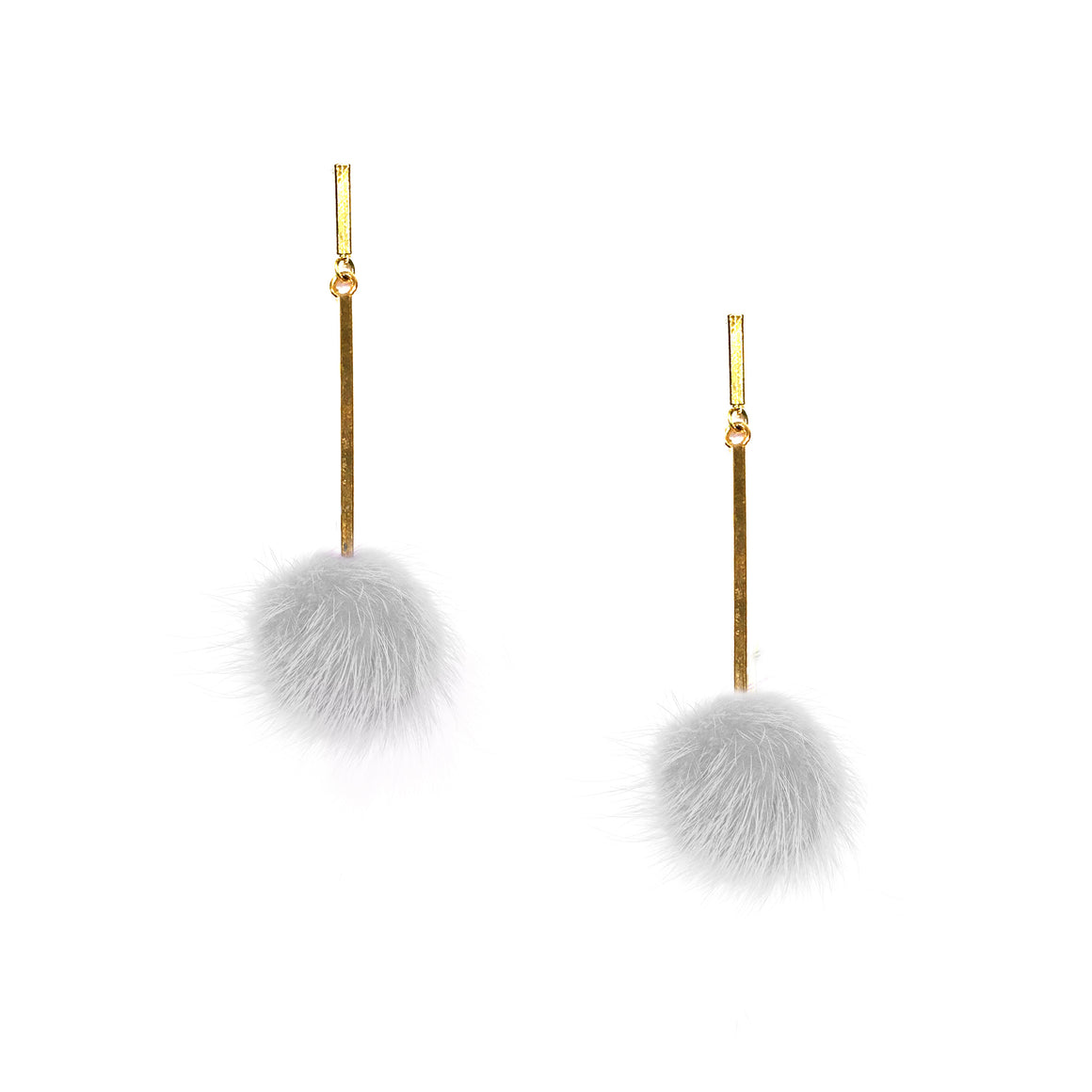 White Mini Mink Pom Pom Earrings