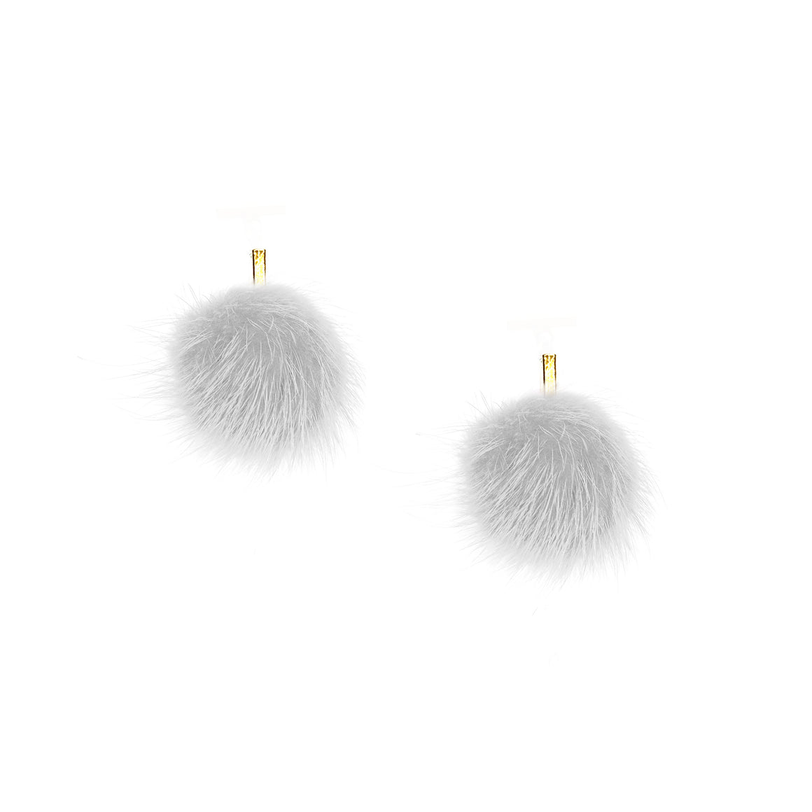 White Mini Mink Pom Pom Stud Earrings