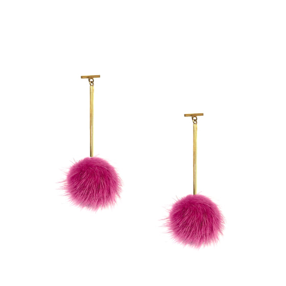 Fuchsia Mink Pom Pom T Bar Earrings, Earrings, Tuleste, Tuleste
