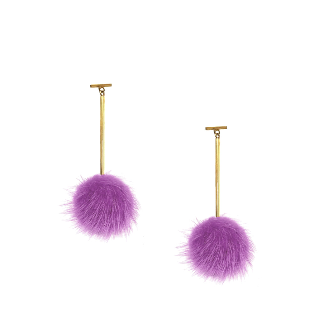 Violet Mink Pom Pom T Bar Earrings