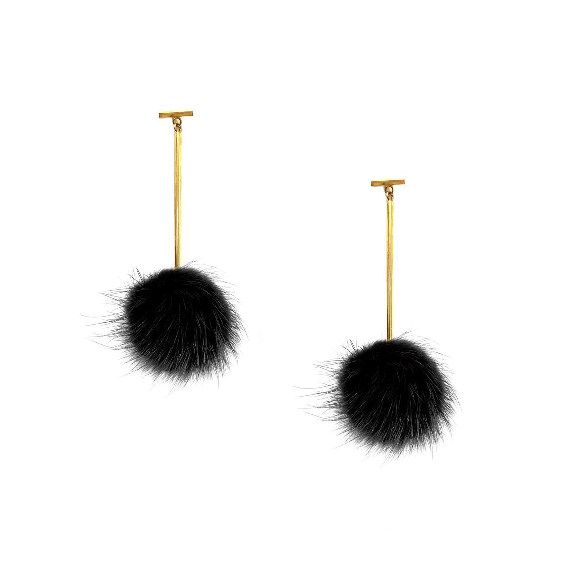 Black Mini Mink Pom Pom T Bar Earrings, earring, Tuleste, Tuleste