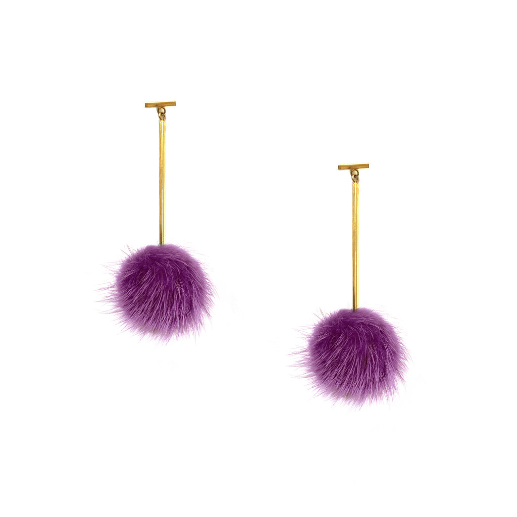 Purple Mini Mink Pom Pom T Bar Earrings, Earrings, Tuleste, Tuleste