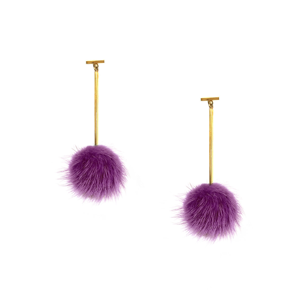 Purple Mini Mink Pom Pom T Bar Earrings, earring, Tuleste, Tuleste