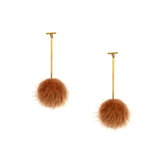 Rust Mini Mink Pom Pom T Bar Earrings, earring, Tuleste, Tuleste