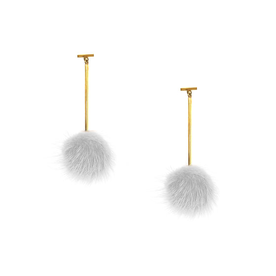 White Mini Mink Pom Pom T Bar Earrings